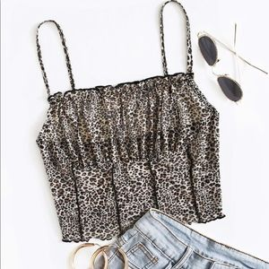 SHEIN Ruched Bust Seam Front Leopard Cami Top XS